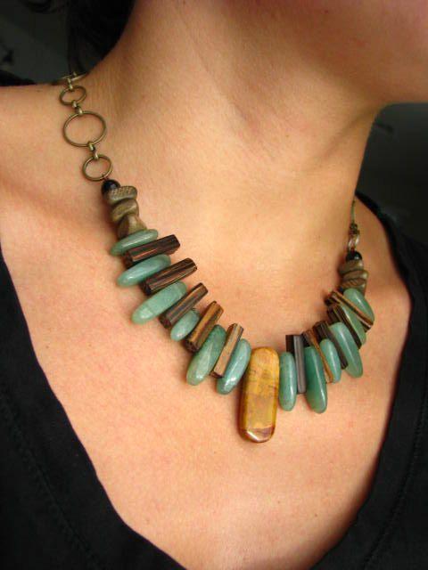 Jewelry - Tribal Bohemian Necklace - Coconut, Aventurine and Jasper.: