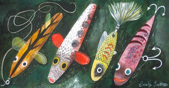 """Fishing lures"" by Emily Sutton, 2012 (ink and watercolour on paper)"