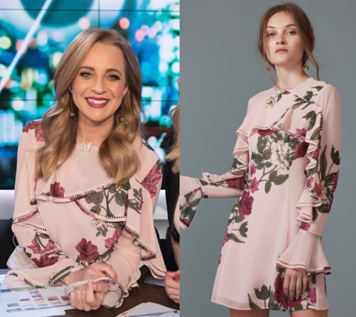 Carrie Bickmore wears this pink floral mini dress in this episode of The Project on Monday the 9th of October 2017. It is the Keepsake Night Lights Long Sleeve Dress.