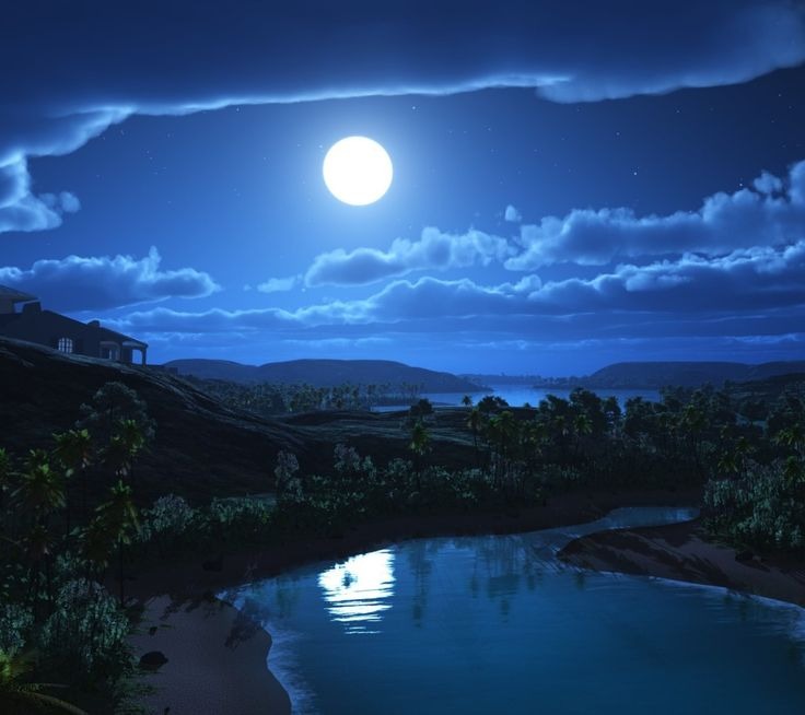 Reflection Of Moon. Tap To See 18+ Gorgeous Night Time HD