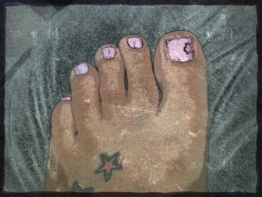 My cute toenails I did today. Light pink and one purple with purple flower. :)