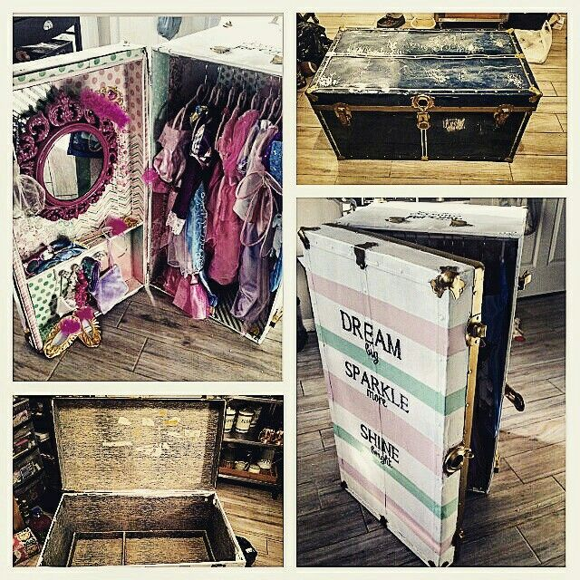 upcycled travel trunk into a dress up trunk diy diy home