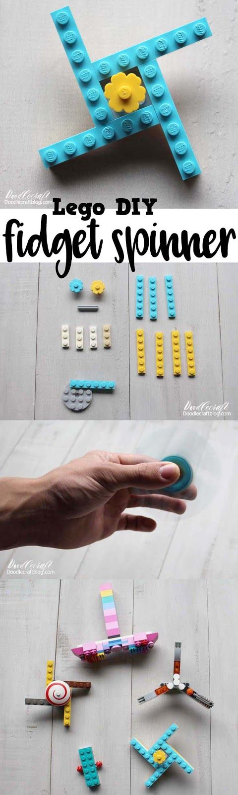 Easy LEGO Fidget Spinner DIY! Here's a fun summer kids craft activity! We spread a big blanket on the ground and then piled all our Lego pieces on it.  I told my kids I wanted each of them to build a fidget spinner.  It took us a couple hours...lots of sifting and sorting through pieces to find the ones we needed.