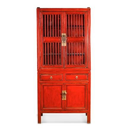 Slated Pantry Cabinet. Antique red with hand distressed accents and traditional Asian hardware.