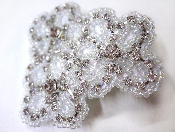 rhinestone flowers hair clip cute wedding by megansbeadeddesigns 1600