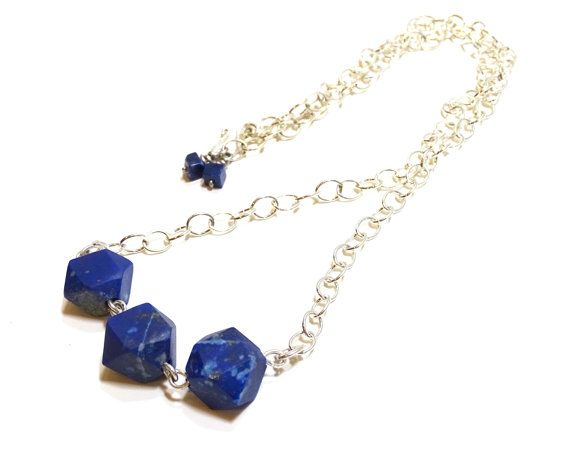 Natural raw Lapis Lazuli Nuggets sterling silver by FIPDesigns #SPSTeam #CYBER15