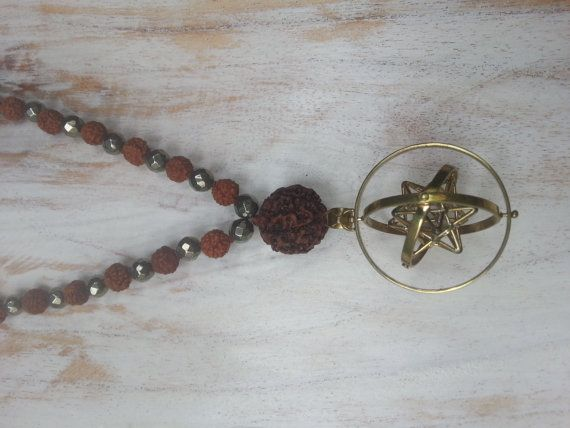 Brass Geometric Solar Star Alchemical Moving Amulet Mala Pyrite Rudraksha - Yoshi's Treasures