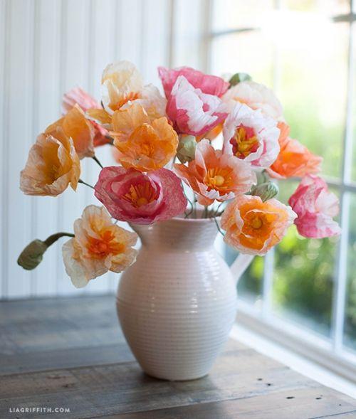 цветы из бумаги, маки из папиросной бумаги, реалистичные искусственные цветы из бумаги своими руками, мастер-класс, мк, МК