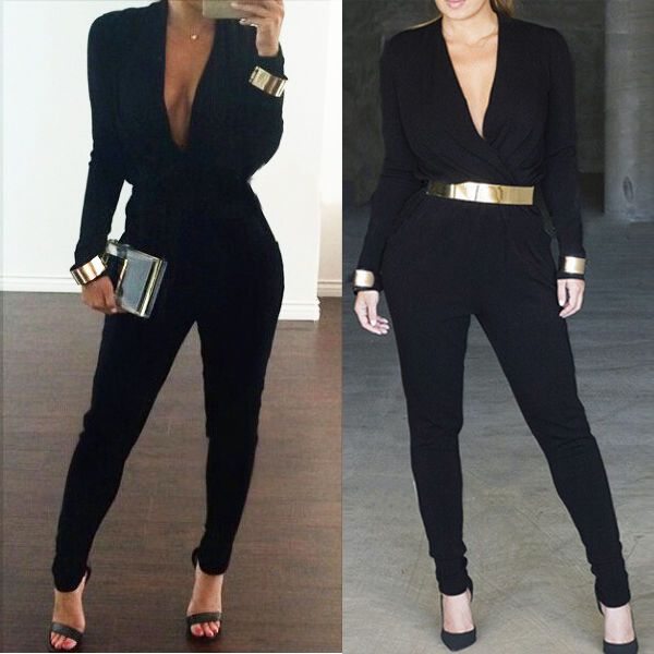 Sexy Ladies Celeb Long Sleeve Clubwear Party Cocktail Evening Playsuit Dress in Clothes, Shoes & Accessories, Women's Clothing, Jumpsuits & Playsuits | eBay