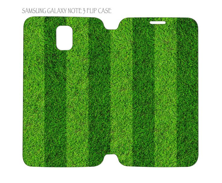 Samsung Galaxy Note 3 Flip Case Folio Cover Green Grass Football Soccer Field #QuinnCafe