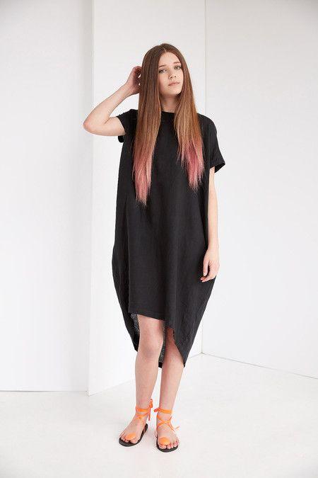 Black Crane Pleated Cocoon Dress - Black