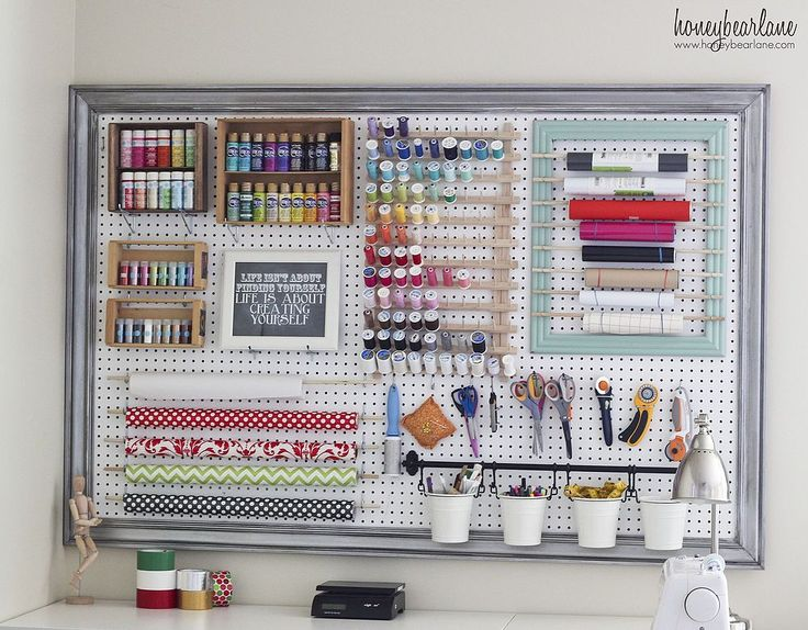 Craft Room Organizational Pegboard- I love the pegboard Idea! Would be great right above my desk too I think