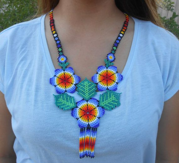 Beautiful Blue Floral Flower Beaded Necklace and Earrings