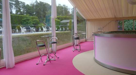 Top Hat Marquees pretty in pink wedding bar and carpet