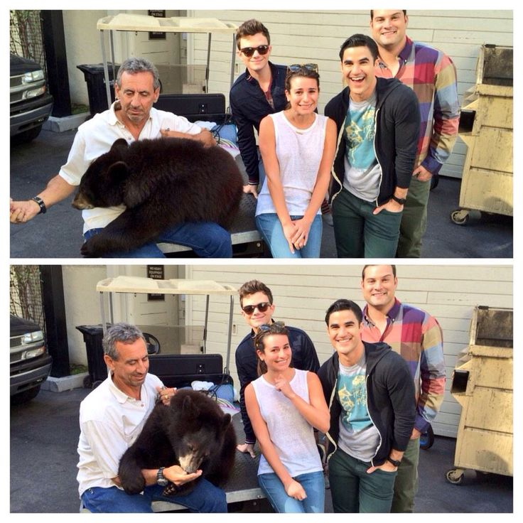 Lea Michele, Chris Colfer, Darren Criss and Max Adler with a bear on the Glee set