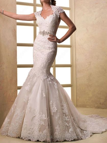 Trumpet/Mermaid Queen-anne Lace Court Train Sashes / Ribbons Wedding Dresses -USD$424.22