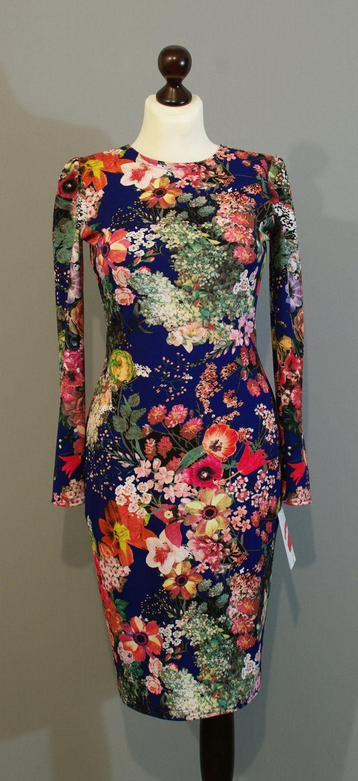 Синее платье-карандаш с цветами купить на сайте Платье-терапия (45)