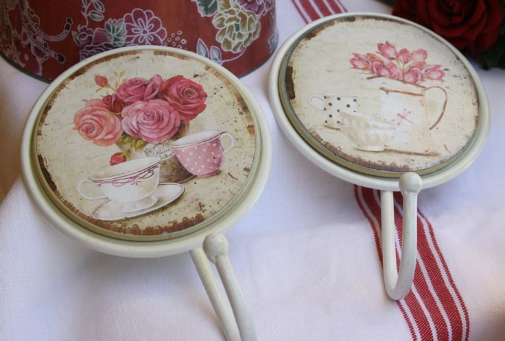 Set of two hooks 17cm with Rose & Tea cup pattern