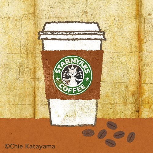 Chie Katayama illustration. Personal work オリジナル #illustration #draw #art #starbucks #coffee #cat  #イラスト #イラストレーション