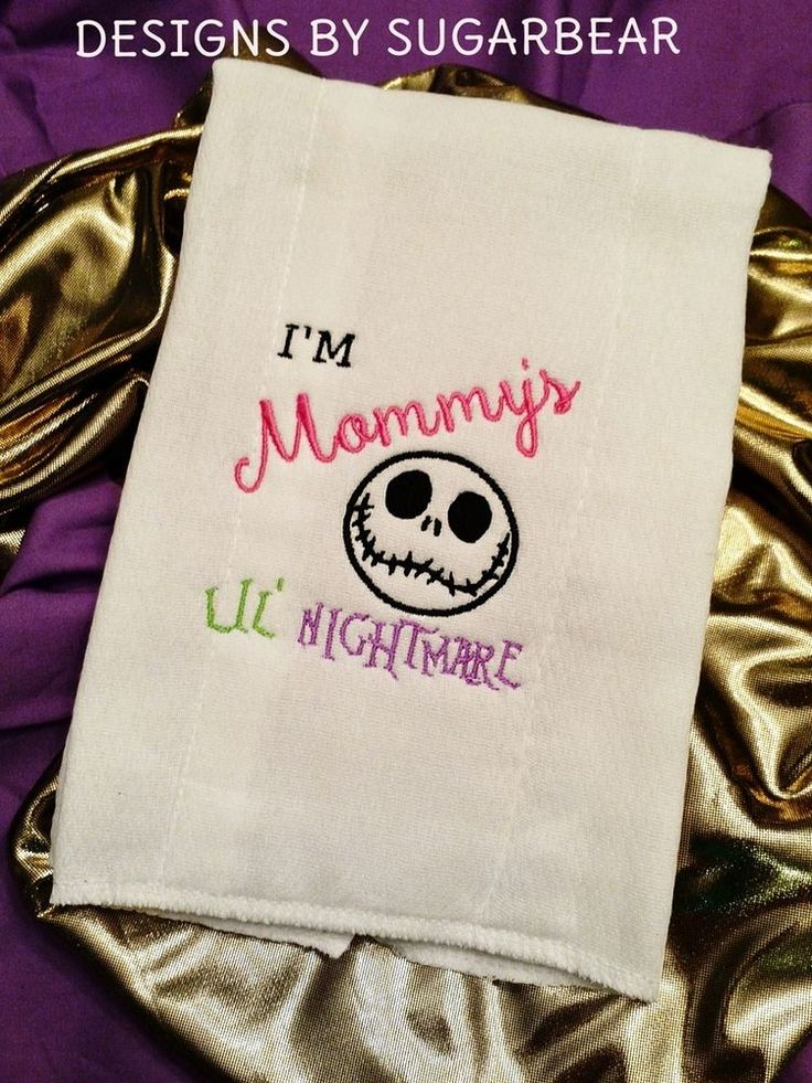 NIGHTMARE BEFORE CHRISTMAS BABY BURP CLOTH• I'm Mommy's Lil NiGhTMaRe BaBy Gift #DesignsbySugarbearBoutiqueEmbroideredDesigns