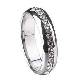 brushed with Inlay polished shiny tungsten jewelry - Tungstenjewellry.com