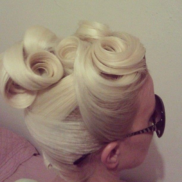 white-blonde pin curls