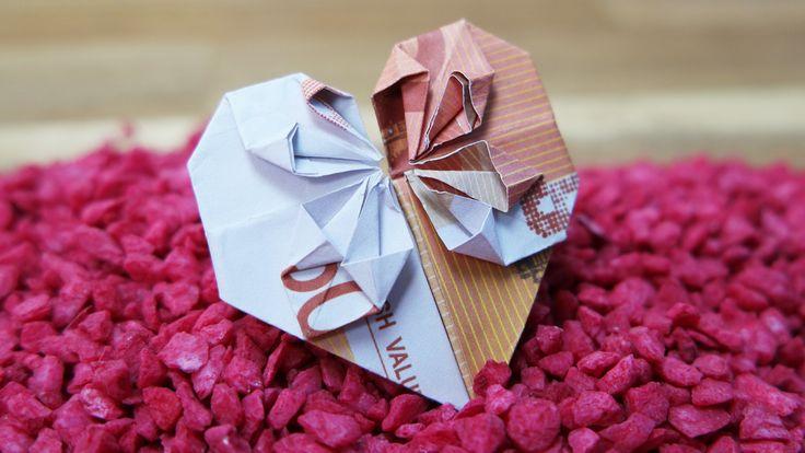 Geldschein falten Herz – Geldgeschenk zur Hochzeit, DIY Origami Tutorial Deutsch #TrauDirWasZu