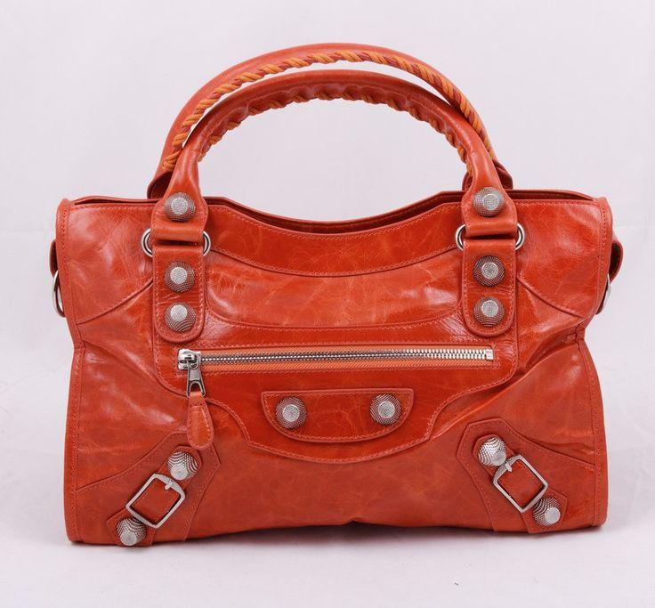Женская кожаная сумка Balenciaga (Баленсиага) оранжевого цвета