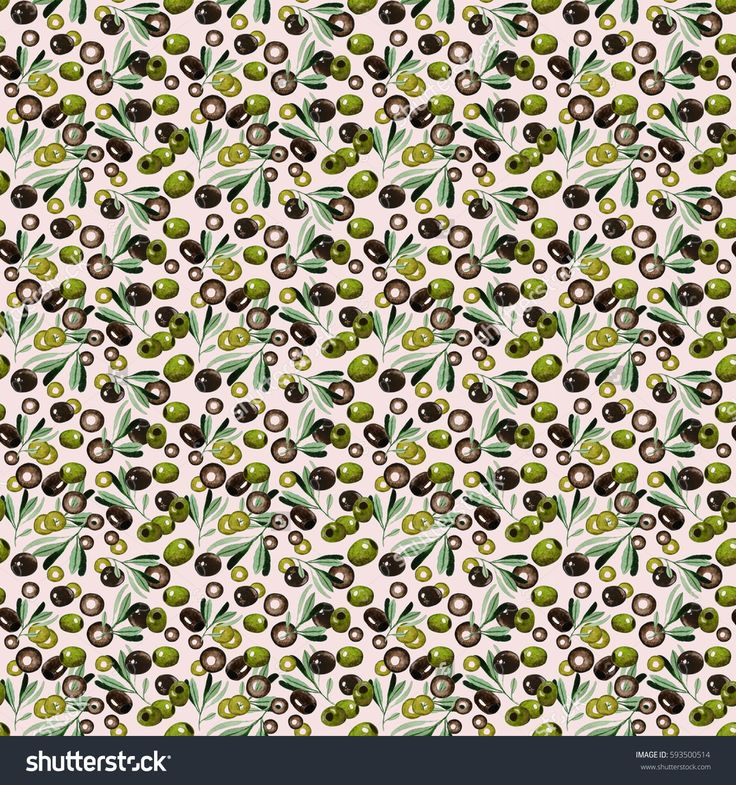 Watercolor seamless pattern with black and green olives, branches and sliced olives