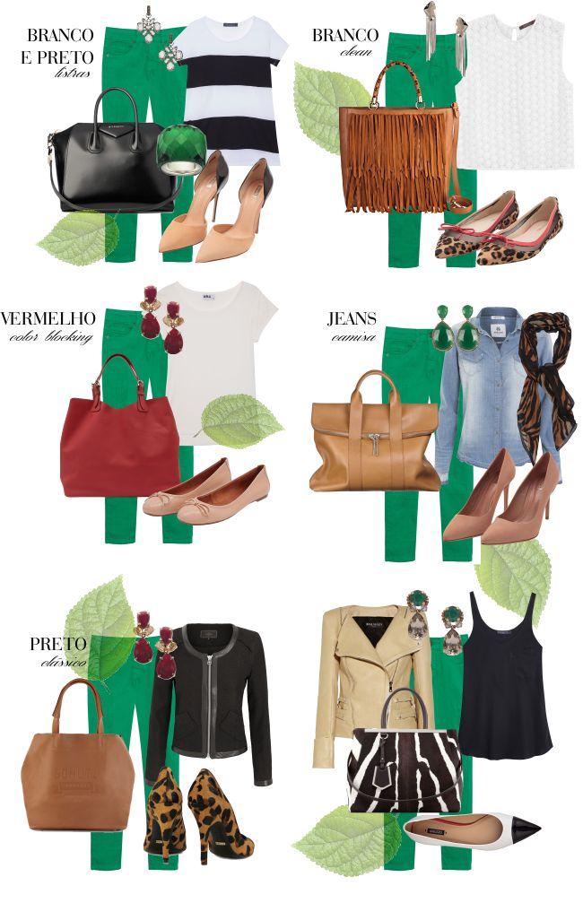 Uma calça verde e vários looks!