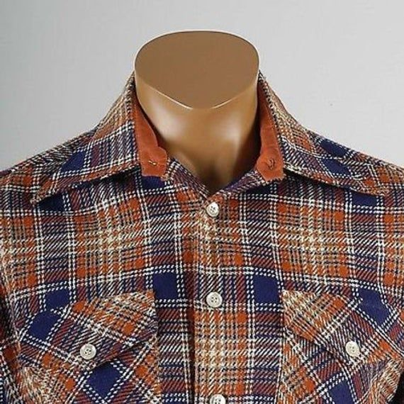 Large 1970s Tweed Shirt 70s Boho Hippie Shirt Wool Plaid Tweed Button Up Pocket Shirt Donegal Blue Orange Vintage Shirt Winter