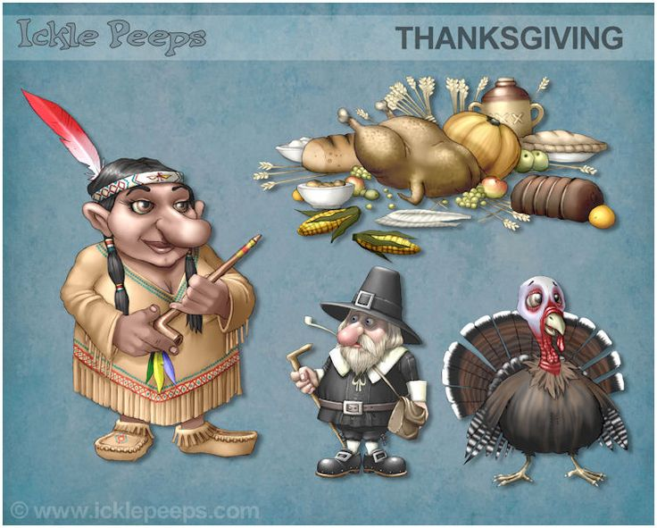 A small set of 2 Thanksgiving styles Gnomes and 2 additional props in PNG format