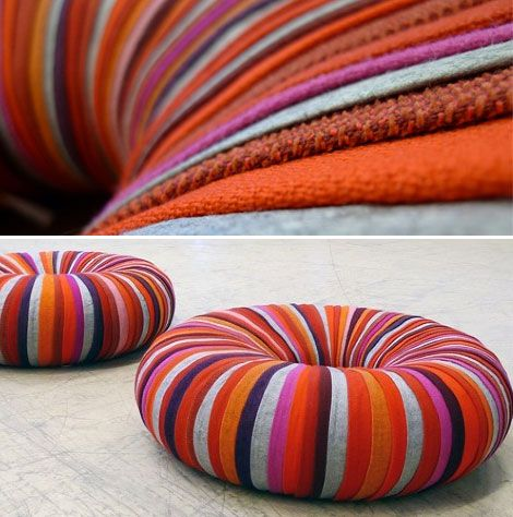 DIY ~ Inner tube wrapped in colourful ribbons of recycled textiles used for upholstery. This is such a cool idea for summer, could definately Diy this!!