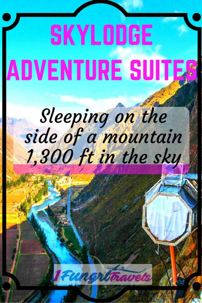 Sleeping 1,300 feet in the sky on the side of a mountain with Skylodge Adventure Suites was a one-of-a-kind unique experience I will never forget! After climbing up the mountain via ferrata, I was treated to an all-inclusive meal in the sleeping pod, and then a breakfast the next day. We ziplined out! This is the perfect luxury retreat for an adventurous soul seeking the thrill of a lifetime! It's located in Urubamba, Peru. #travel #peru #unique #offbeat #adventure