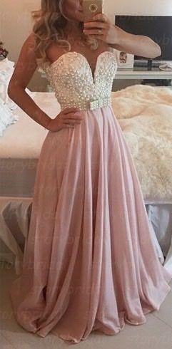 Chiffon Floor Length Prom Dress, Elegant Prom Dresses