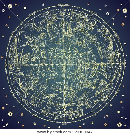 Vintage zodiac constellation of Northern stars.