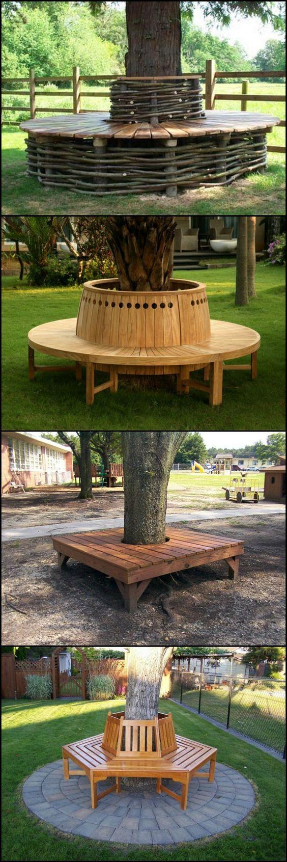 Wrap around tree seated bench design ideas.