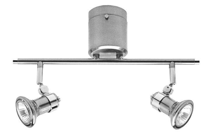 Vogue DIY 2 Light Bar GU10 Including Globes in Brushed Steel