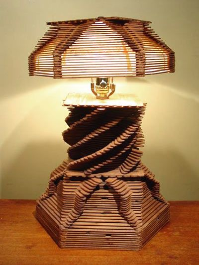 """popsicle stick crafts for adults   Folk Art Lamp made with Popsicle Sticks.C 1940's. H 19 """" and W 13""""."""