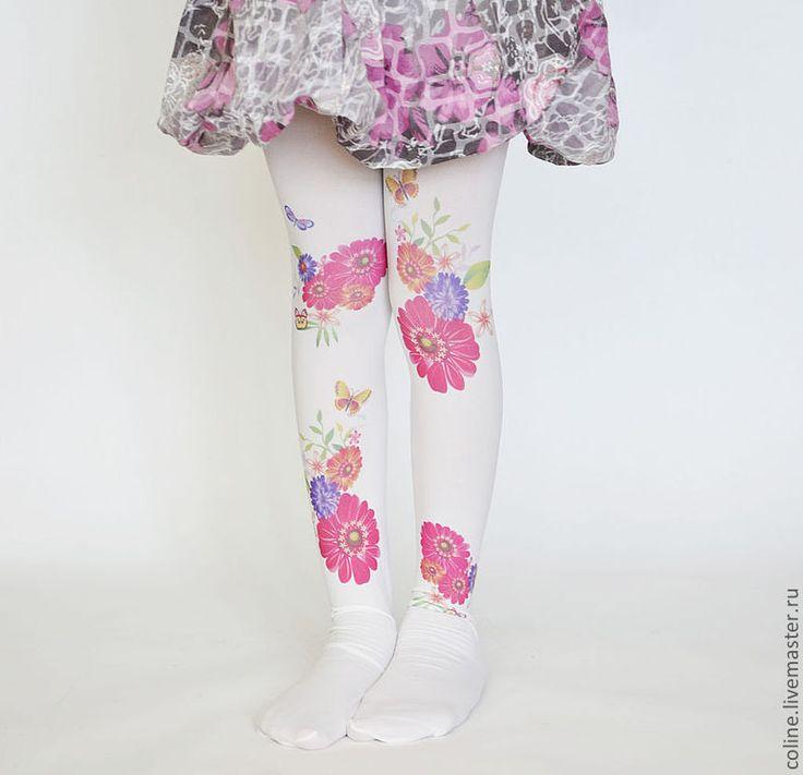 """Купить """"Цветочки """"Детские  дизайнерские Колготки с принтом - колготки, колготки с принтом, аксессуары, белый"""