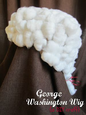 Make a George Washington Wig in celebration of his birthday! Supplies: low-temp glue gun, paper grocery bag, ribbon, and cotton balls.