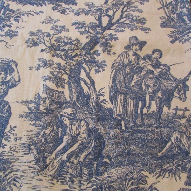 One Waverly Toile Country Life Lined Curtain Panel Blue Cream 86 x 42 #Waverly #Country