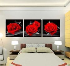 Canvas Print Large Wall Art Flower Red Rose Modern Abstract Home Decor Pictures