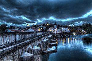 Обои Португалия Дома Реки Мосты Небо HDR Ночь Santarem Города