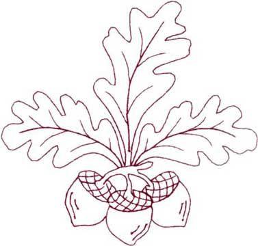 redwork, oak leaves and acorn