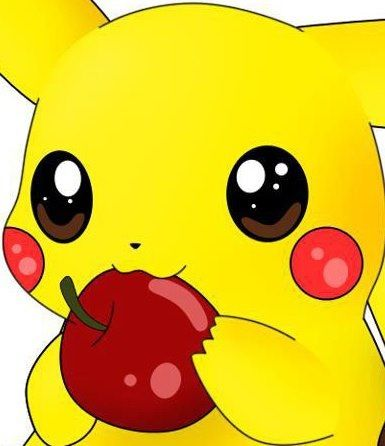Pikachu eating an apple :3