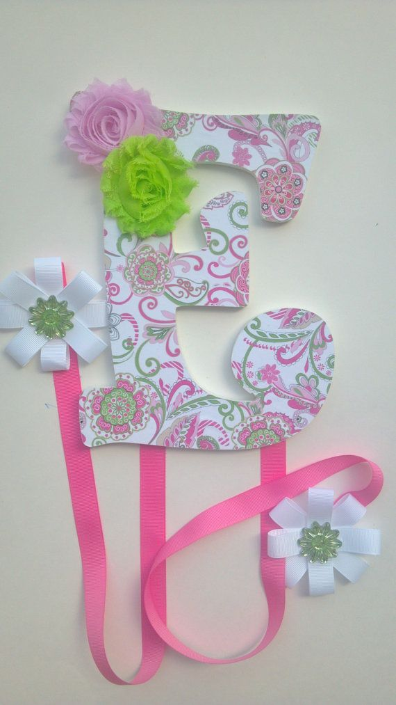 Hair Bow Holder   Pink and Green E   QUICK by BookendsandBows