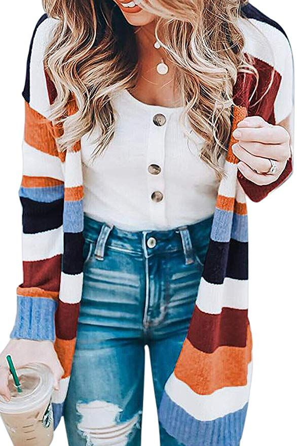 60171f663f ECOWISH Womens Floral Striped Draped Kimono Cardigan Long Sleeve Open Front  Casual Knit Sweaters Coat Floral S