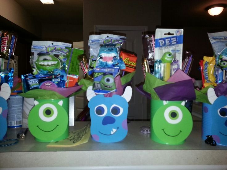 Monster U Monster Inc birthday party centerpieces made from baby formula cans