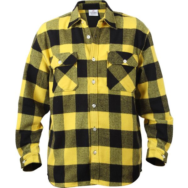 Yellow Black Buffalo Plaid Extra Heavyweight Brawny Flannel Shirt ($5) ❤ liked on Polyvore featuring tops, black flannel shirt, black top, flannel shirt, shirts & tops and yellow top